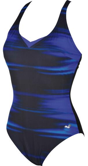 arena Kate Light Cross Back One Piece Swimsuit Women bright blue-black
